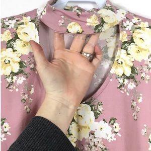 Tops - 1X-3X Floral Cutout Keyhole Choker Blouse Plus